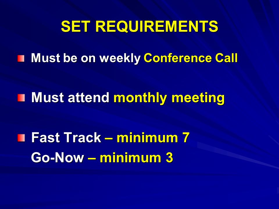 SET REQUIREMENTS Must be on weekly Conference Call Must be on weekly Conference Call Must attend monthly meeting Must attend monthly meeting Fast Trac