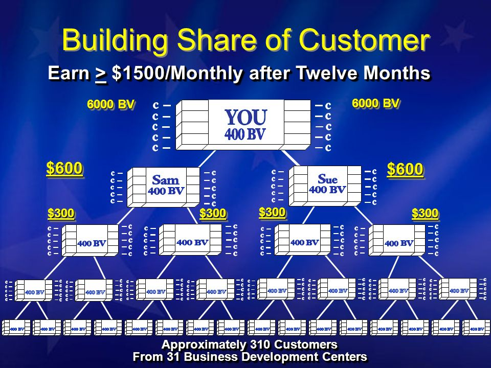 Earn > $1500/Monthly after Twelve Months 6000 BV $600$600 $600$600 $300$300$300$300 $300$300 $300$300 Approximately 310 Customers From 31 Business Development Centers Approximately 310 Customers From 31 Business Development Centers Building Share of Customer