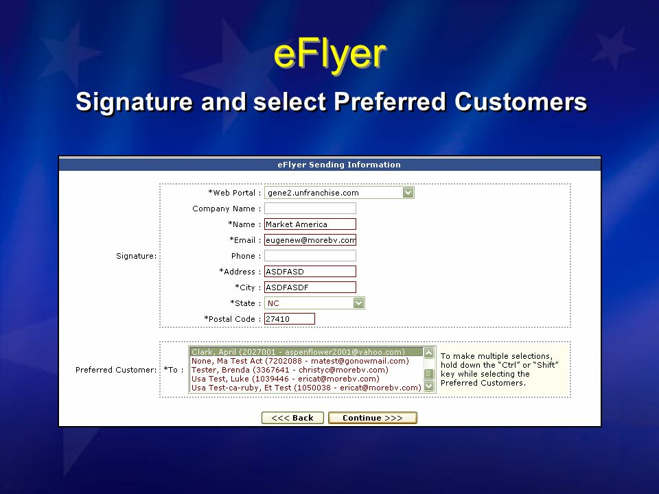 eFlyer Signature and select Preferred Customers