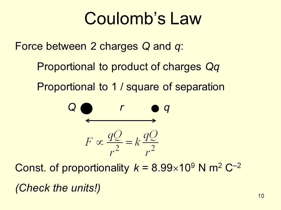 10 Coulombs Law Force between 2 charges Q and q: Proportional to product of charges Qq Proportional to 1 / square of separation Qrq Const. of proporti