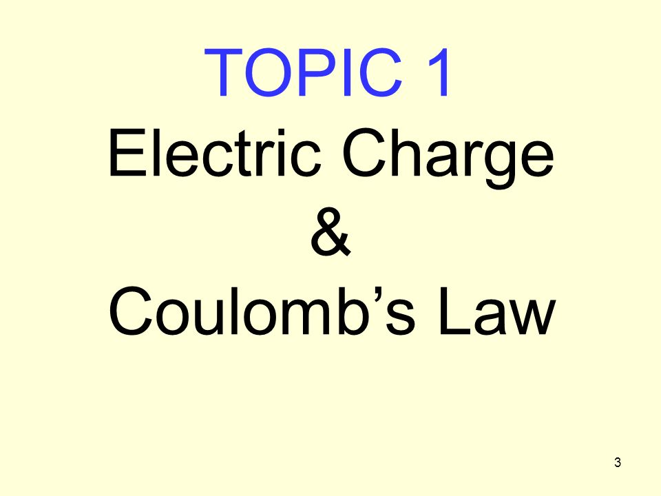 3 TOPIC 1 Electric Charge & Coulombs Law