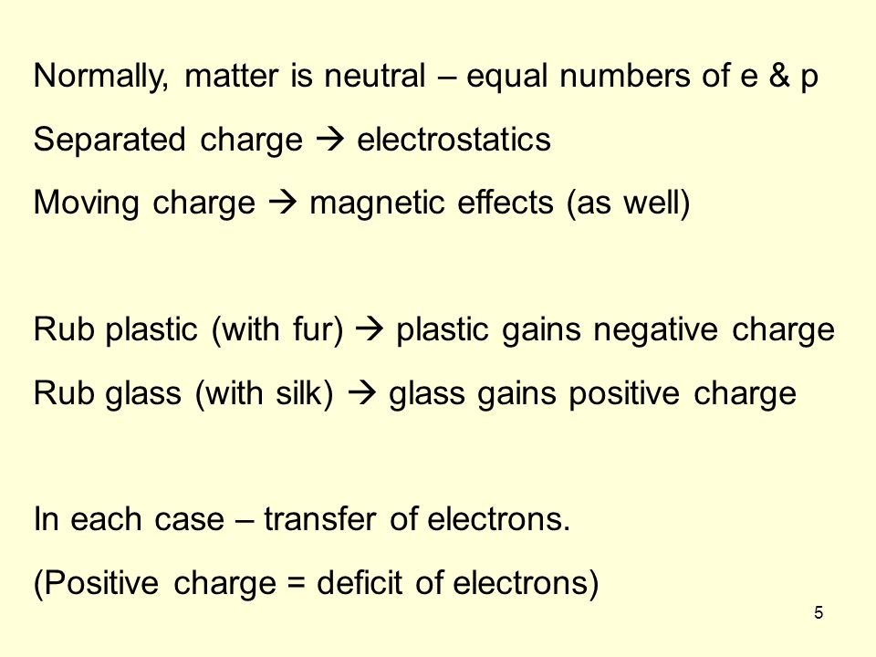 5 Normally, matter is neutral – equal numbers of e & p Separated charge electrostatics Moving charge magnetic effects (as well) Rub plastic (with fur) plastic gains negative charge Rub glass (with silk) glass gains positive charge In each case – transfer of electrons.