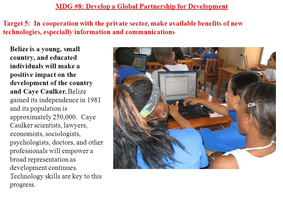 MDG #8: Develop a Global Partnership for Development Target 5: In cooperation with the private sector, make available benefits of new technologies, es