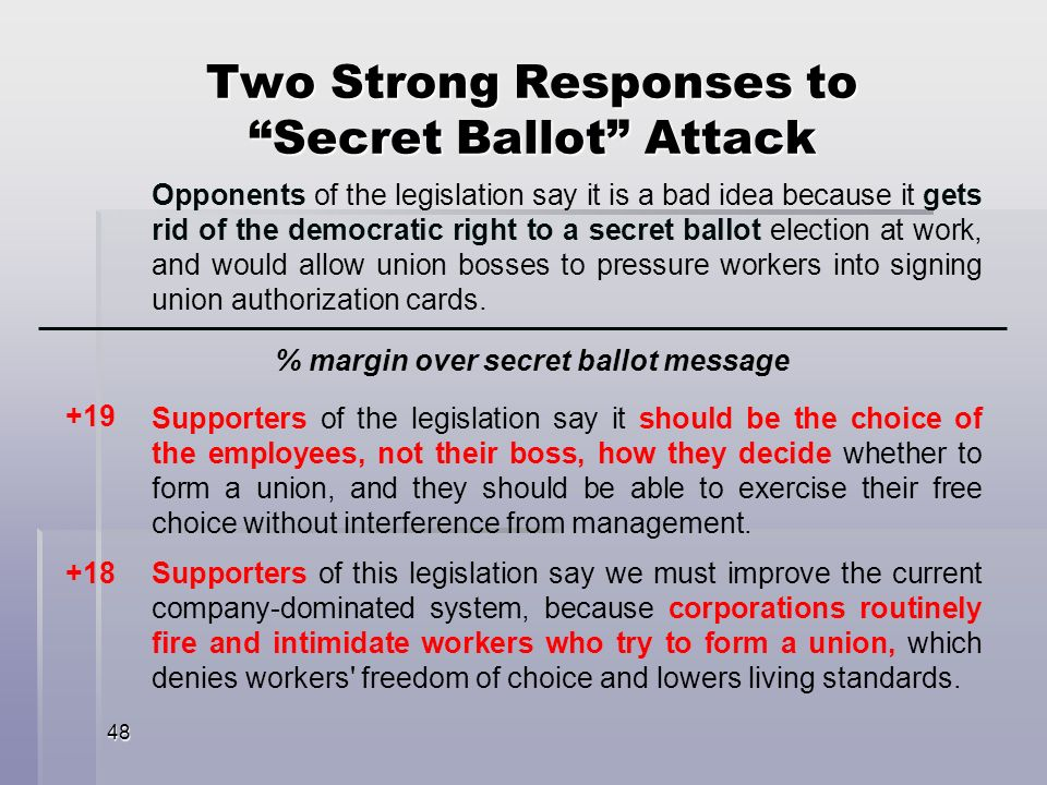 48 Opponents of the legislation say it is a bad idea because it gets rid of the democratic right to a secret ballot election at work, and would allow union bosses to pressure workers into signing union authorization cards.