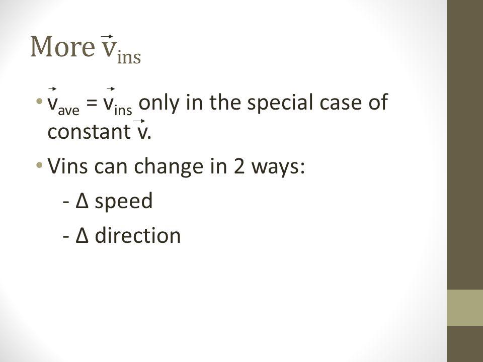 More v ins v ave = v ins only in the special case of constant v. Vins can change in 2 ways: - speed - direction