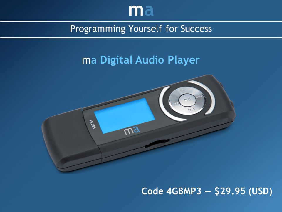 Programming Yourself for Success mama ma Digital Audio Player Code 4GBMP3 $29.95 (USD)