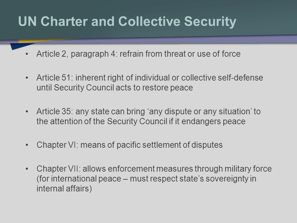 Chapter VI: Steps to Peace Council must establish a threat exists, then: 1.Measures of Art.