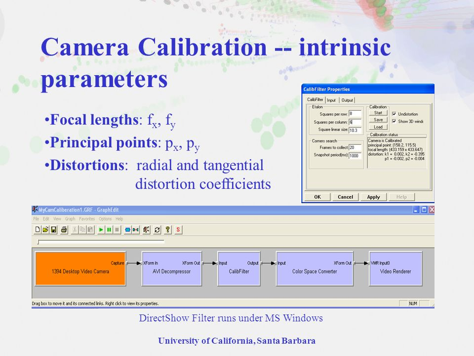 University of California, Santa Barbara Camera Calibration -- intrinsic parameters Focal lengths: f x, f y Principal points: p x, p y Distortions: radial and tangential distortion coefficients DirectShow Filter runs under MS Windows
