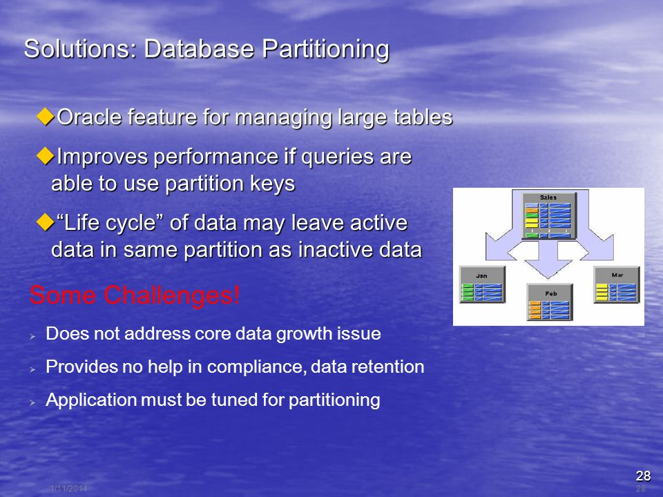 28 1/11/201428 Solutions: Database Partitioning Oracle feature for managing large tables Oracle feature for managing large tables Improves performance if queries are able to use partition keys Improves performance if queries are able to use partition keys Life cycle of data may leave active data in same partition as inactive data Life cycle of data may leave active data in same partition as inactive data Some Challenges.