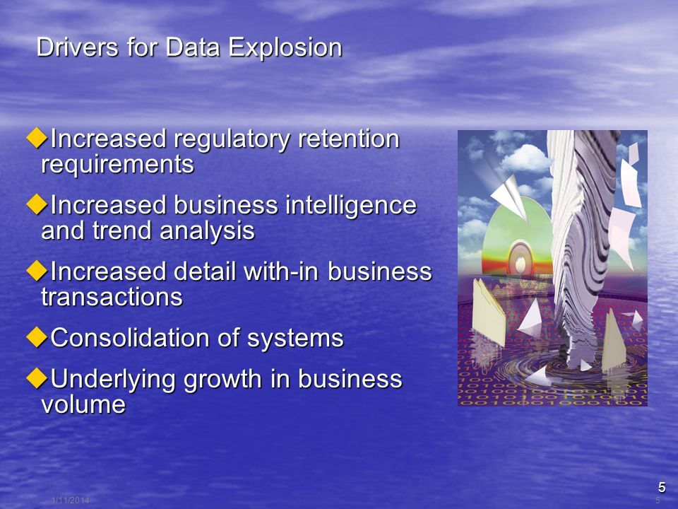 5 1/11/20145 Drivers for Data Explosion Increased regulatory retention requirements Increased regulatory retention requirements Increased business intelligence and trend analysis Increased business intelligence and trend analysis Increased detail with-in business transactions Increased detail with-in business transactions Consolidation of systems Consolidation of systems Underlying growth in business volume Underlying growth in business volume
