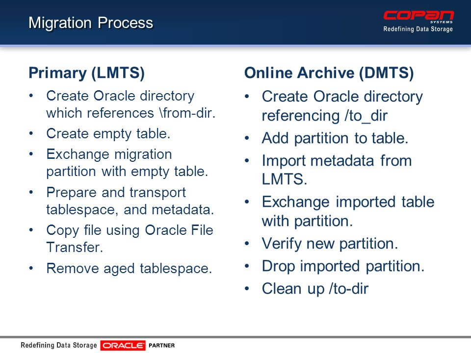 Migration Process Primary (LMTS) Create Oracle directory which references \from-dir. Create empty table. Exchange migration partition with empty table