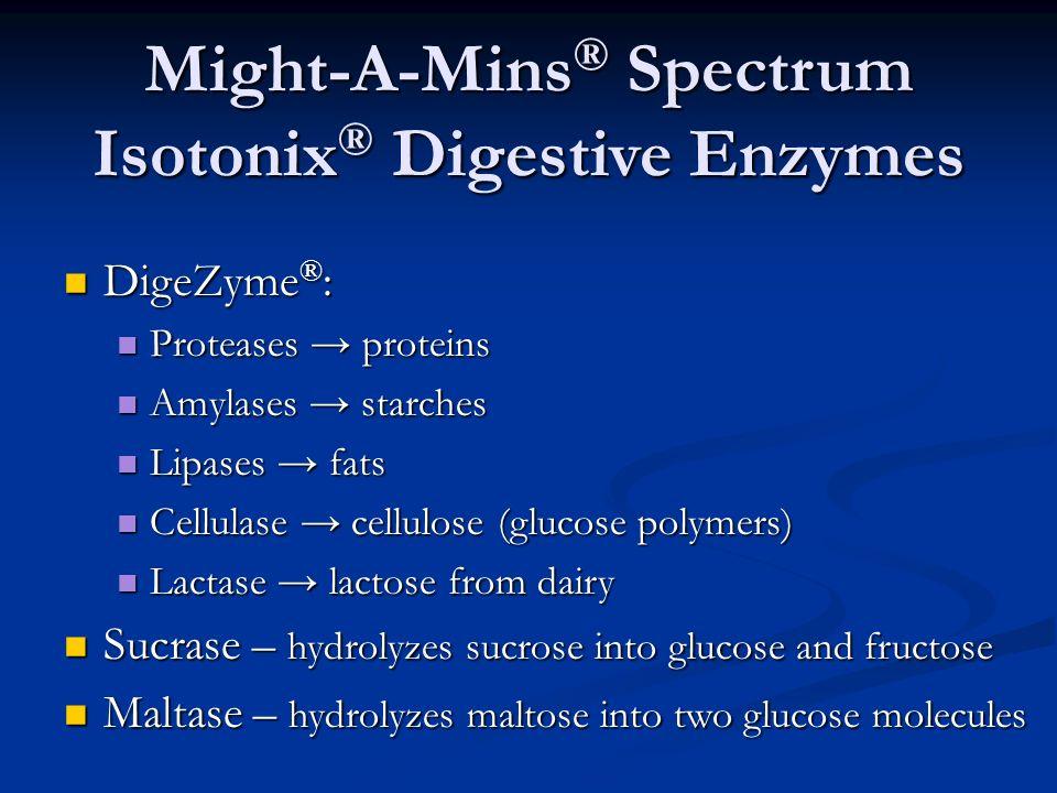 Might-A-Mins ® Spectrum Isotonix ® Digestive Enzymes DigeZyme ® : DigeZyme ® : Proteases proteins Proteases proteins Amylases starches Amylases starch