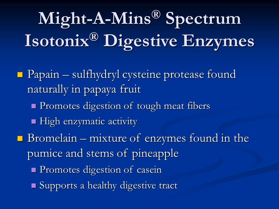 Papain – sulfhydryl cysteine protease found naturally in papaya fruit Papain – sulfhydryl cysteine protease found naturally in papaya fruit Promotes d