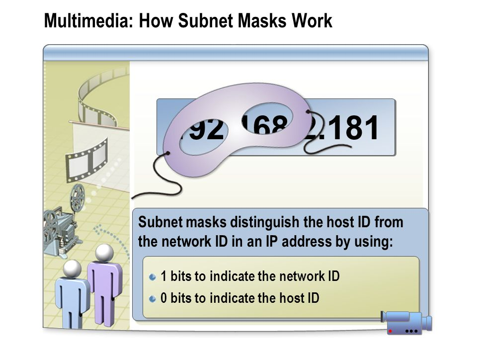 Multimedia: How Subnet Masks Work 192.168.2.181 Subnet masks distinguish the host ID from the network ID in an IP address by using: 1 bits to indicate