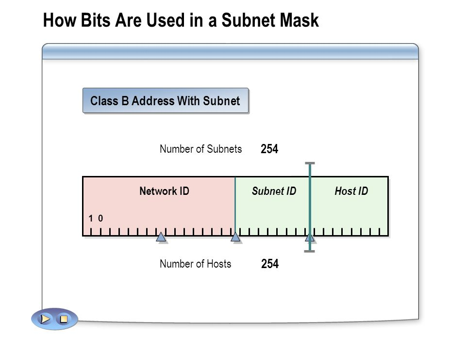How Bits Are Used in a Subnet Mask Class B Address With Subnet Number of Subnets 254 Number of Hosts 254 Network ID Host ID 1 Subnet ID 0 12864 32 16