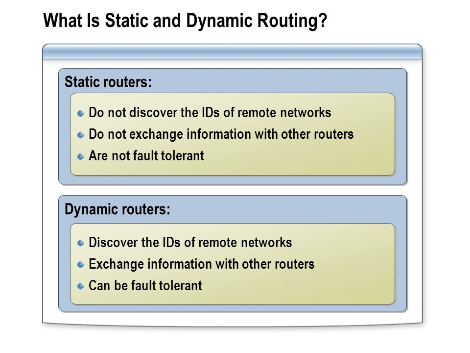 Dynamic routers: Static routers: What Is Static and Dynamic Routing? Do not discover the IDs of remote networks Do not exchange information with other