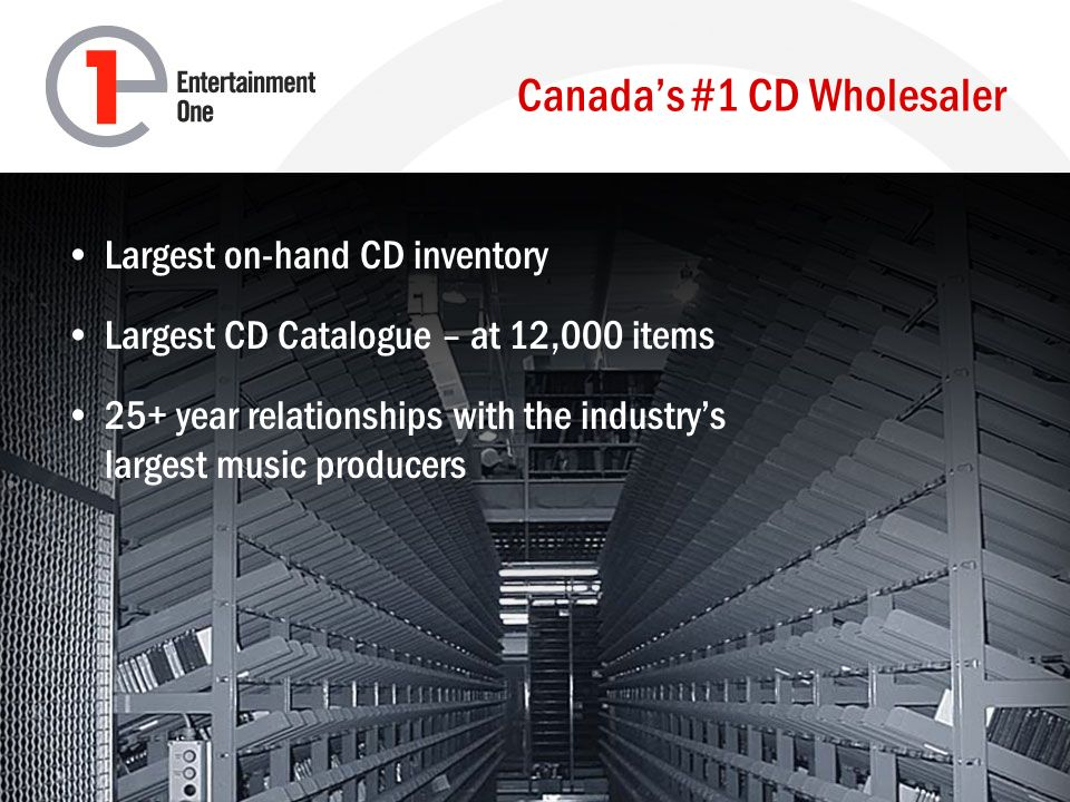 Canadas #1 CD Wholesaler Largest on-hand CD inventory Largest CD Catalogue – at 12,000 items 25+ year relationships with the industrys largest music producers