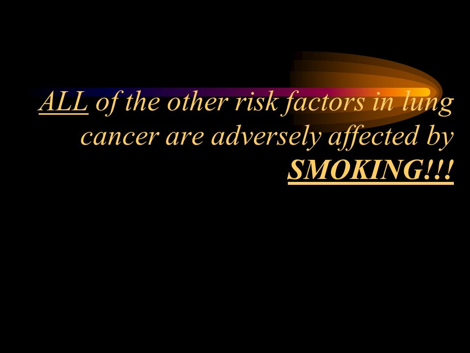 ALL of the other risk factors in lung cancer are adversely affected by SMOKING!!!