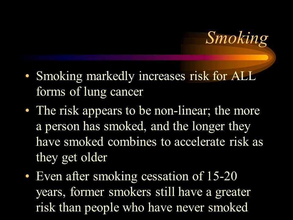 Secondary Smoke The Environmental Protection Agency has declared secondary smoke a major carcinogen The risk to persons from secondary smoke may in fact be higher for the same amount of exposure as for the smoker, because secondary smoke is NOT filtered through the cigarette