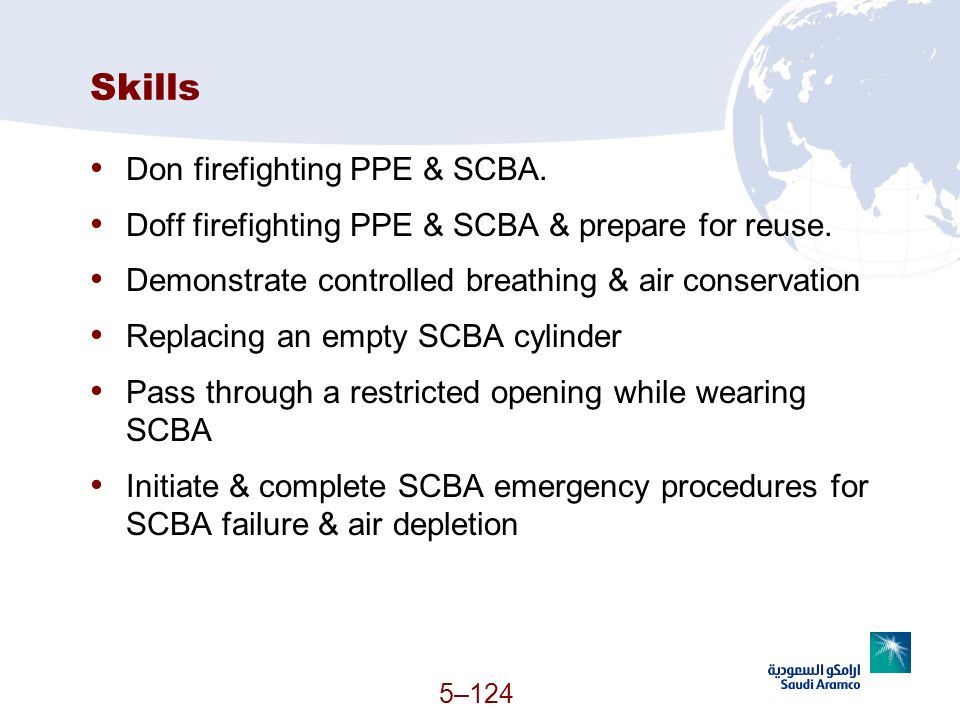 5–124 Skills Don firefighting PPE & SCBA. Doff firefighting PPE & SCBA & prepare for reuse. Demonstrate controlled breathing & air conservation Replac