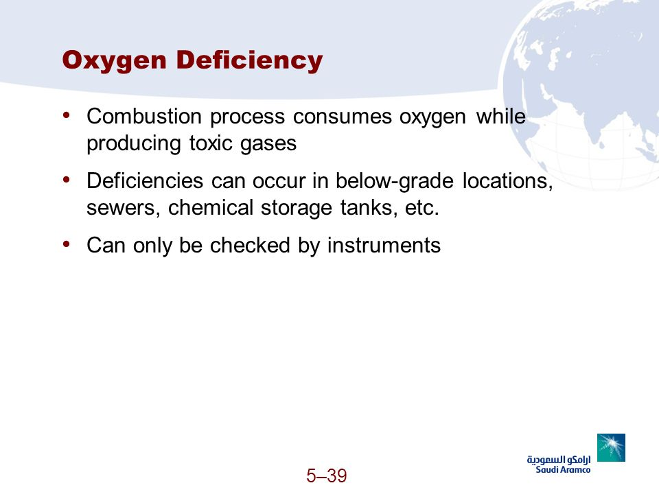 5–39 Oxygen Deficiency Combustion process consumes oxygen while producing toxic gases Deficiencies can occur in below-grade locations, sewers, chemica
