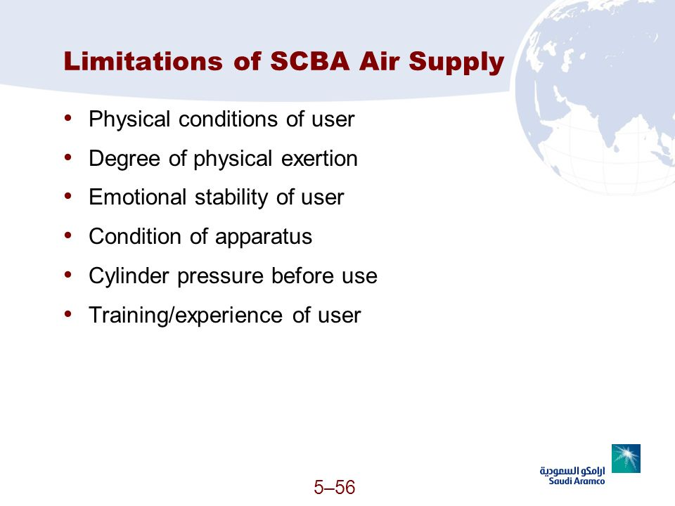 5–56 Limitations of SCBA Air Supply Physical conditions of user Degree of physical exertion Emotional stability of user Condition of apparatus Cylinde