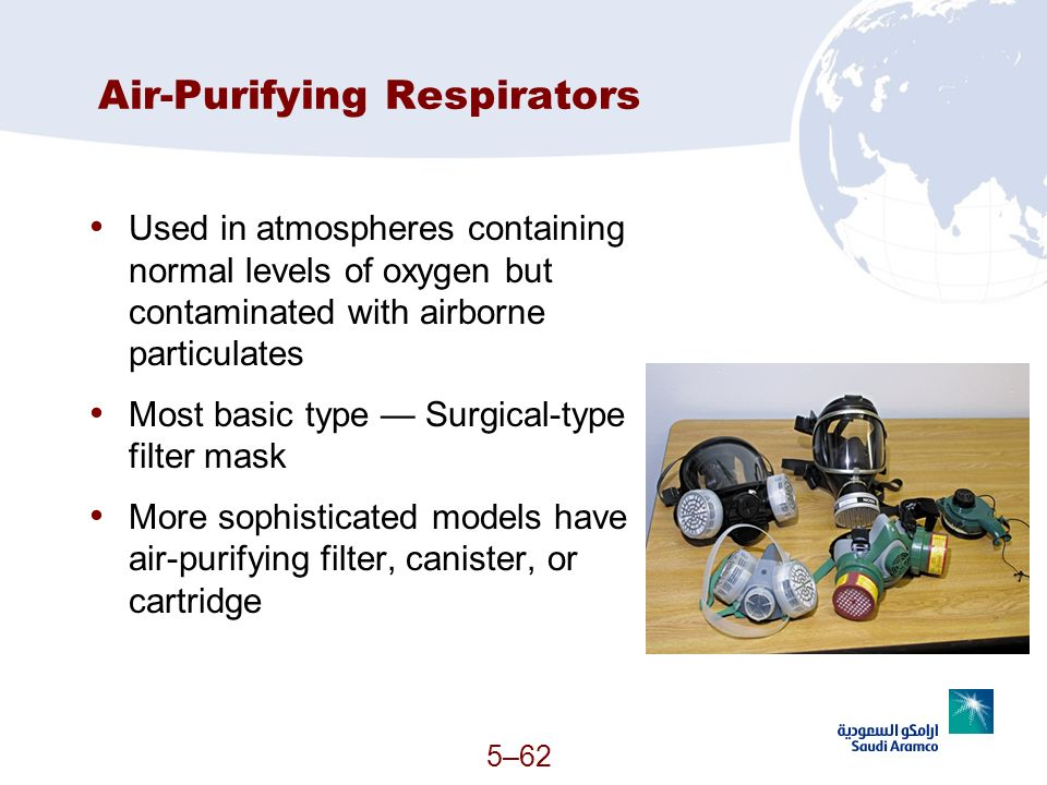 5–62 Air-Purifying Respirators Used in atmospheres containing normal levels of oxygen but contaminated with airborne particulates Most basic type Surg