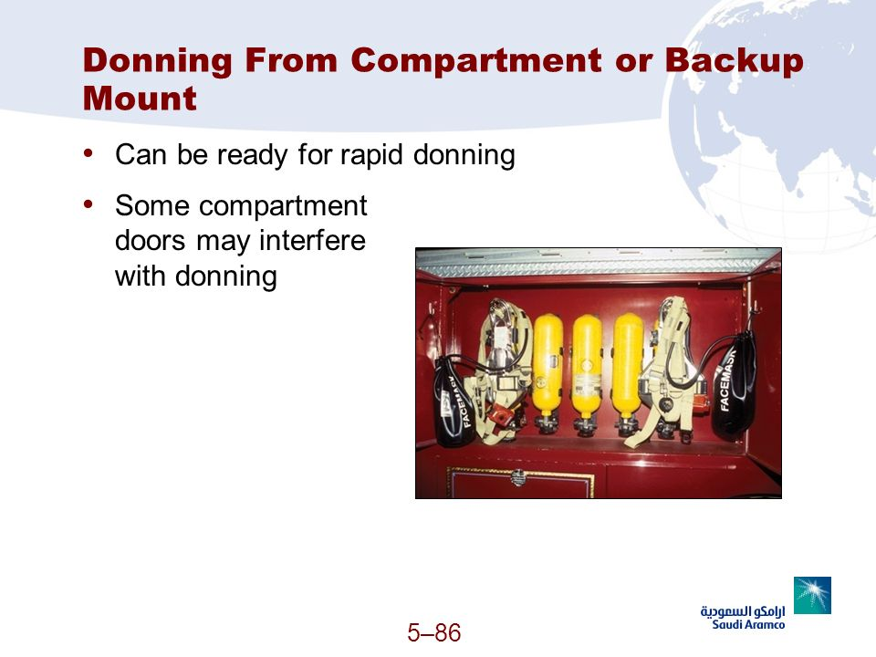 5–86 Donning From Compartment or Backup Mount Can be ready for rapid donning Some compartment doors may interfere with donning (Continued)