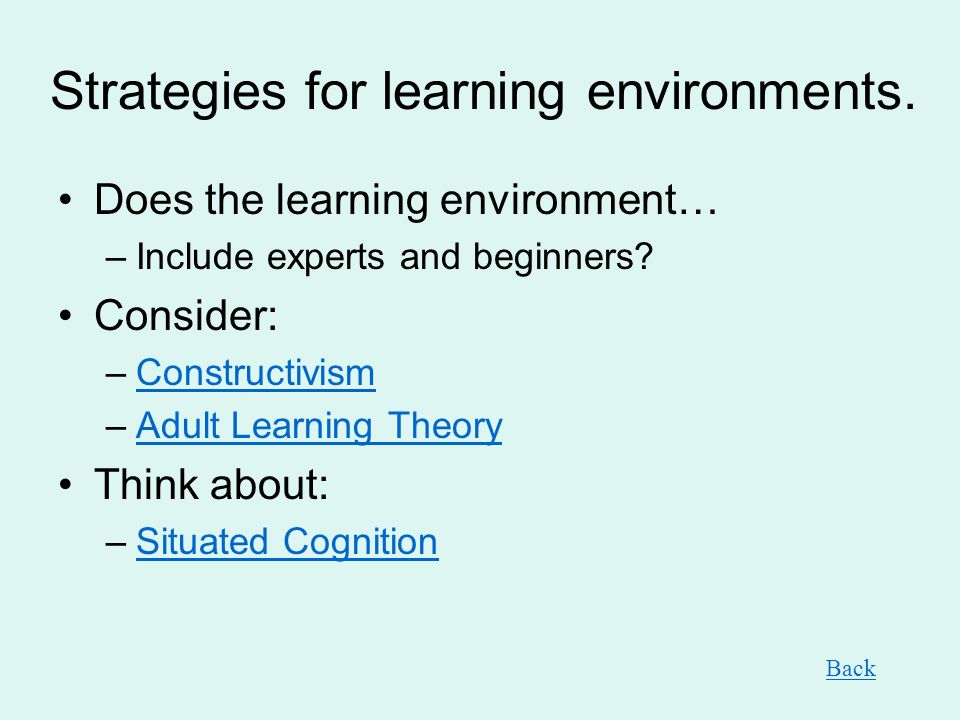 Strategies for learning environments. Does the learning environment… –Include experts and beginners? Consider: –ConstructivismConstructivism –Adult Le