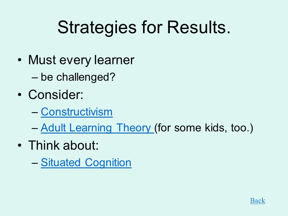 Strategies for Results.Must every learner –be challenged.