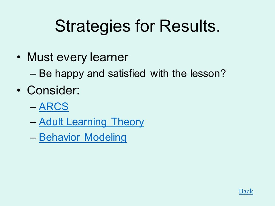 Strategies for Results.Must every learner –Be happy and satisfied with the lesson.