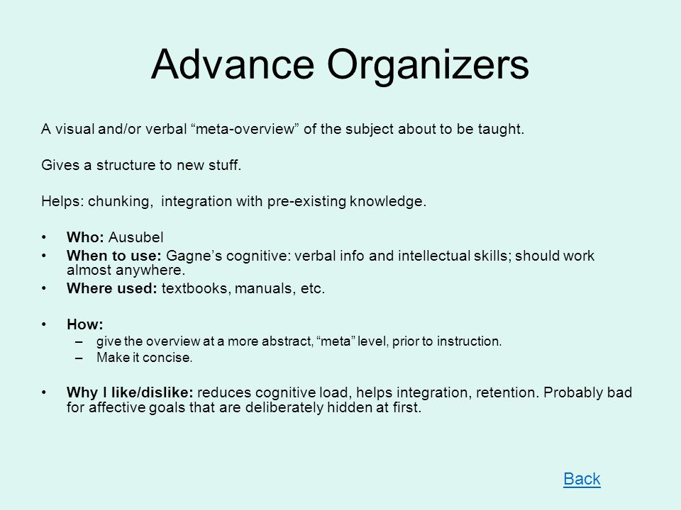 Advance Organizers A visual and/or verbal meta-overview of the subject about to be taught. Gives a structure to new stuff. Helps: chunking, integratio