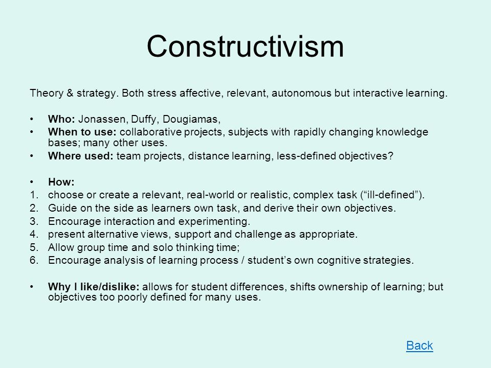 Constructivism Theory & strategy.