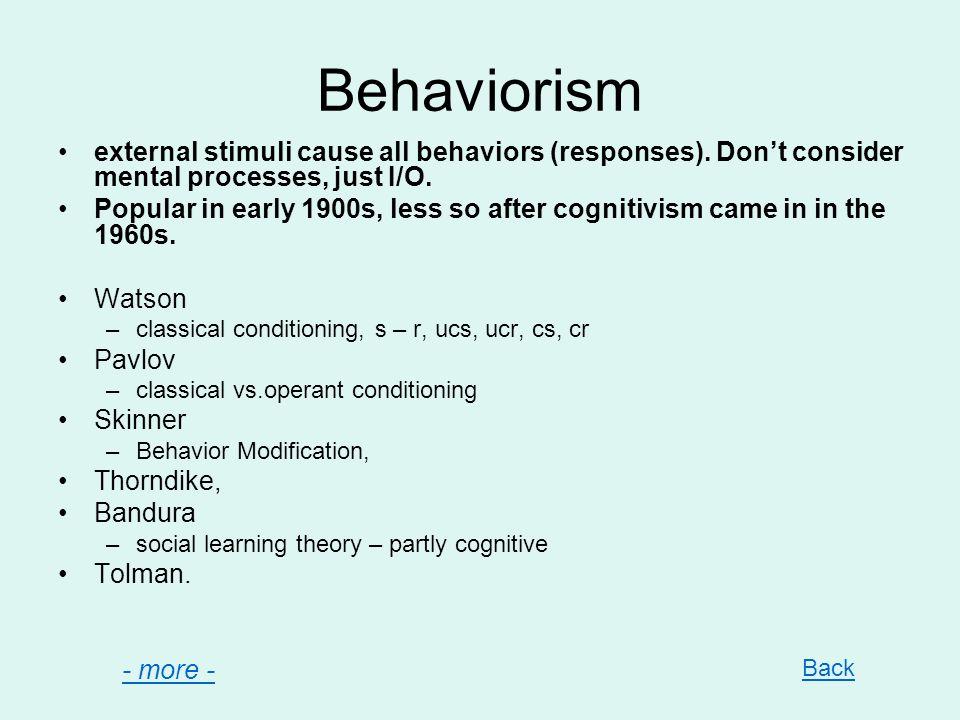 Behaviorism external stimuli cause all behaviors (responses).