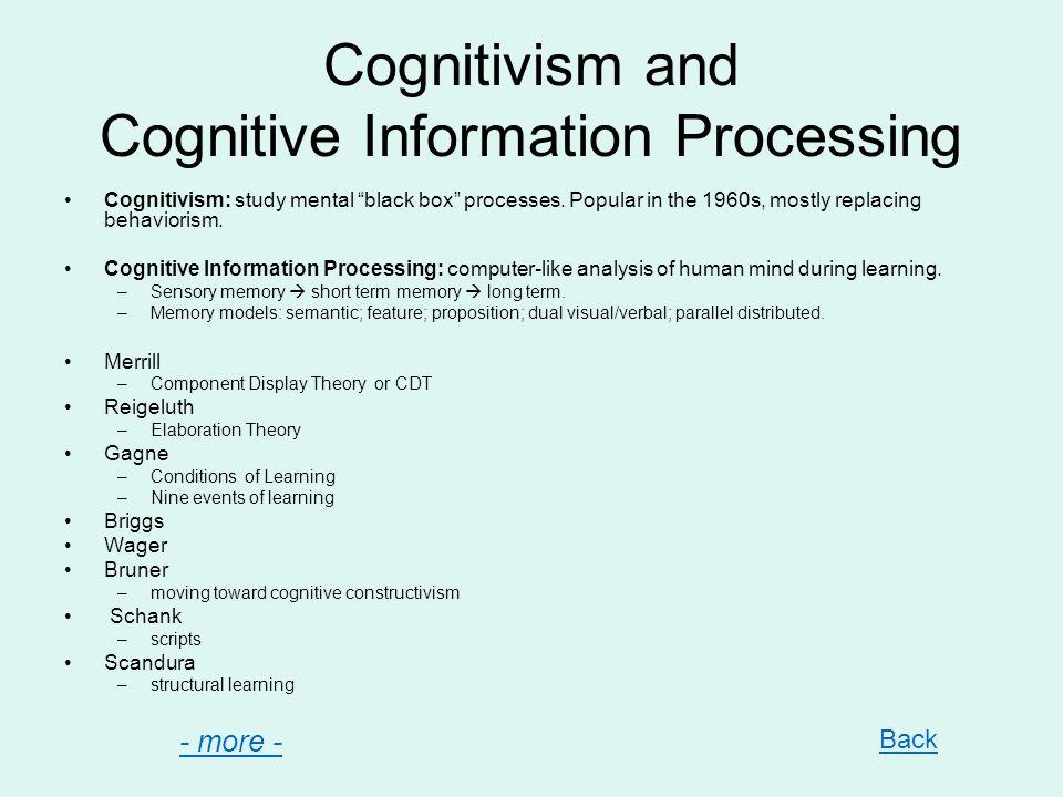 Cognitivism and Cognitive Information Processing Cognitivism: study mental black box processes. Popular in the 1960s, mostly replacing behaviorism. Co