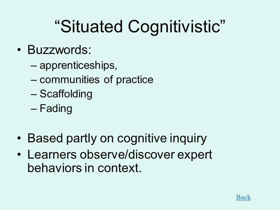 Situated Cognitivistic Buzzwords: –apprenticeships, –communities of practice –Scaffolding –Fading Based partly on cognitive inquiry Learners observe/d