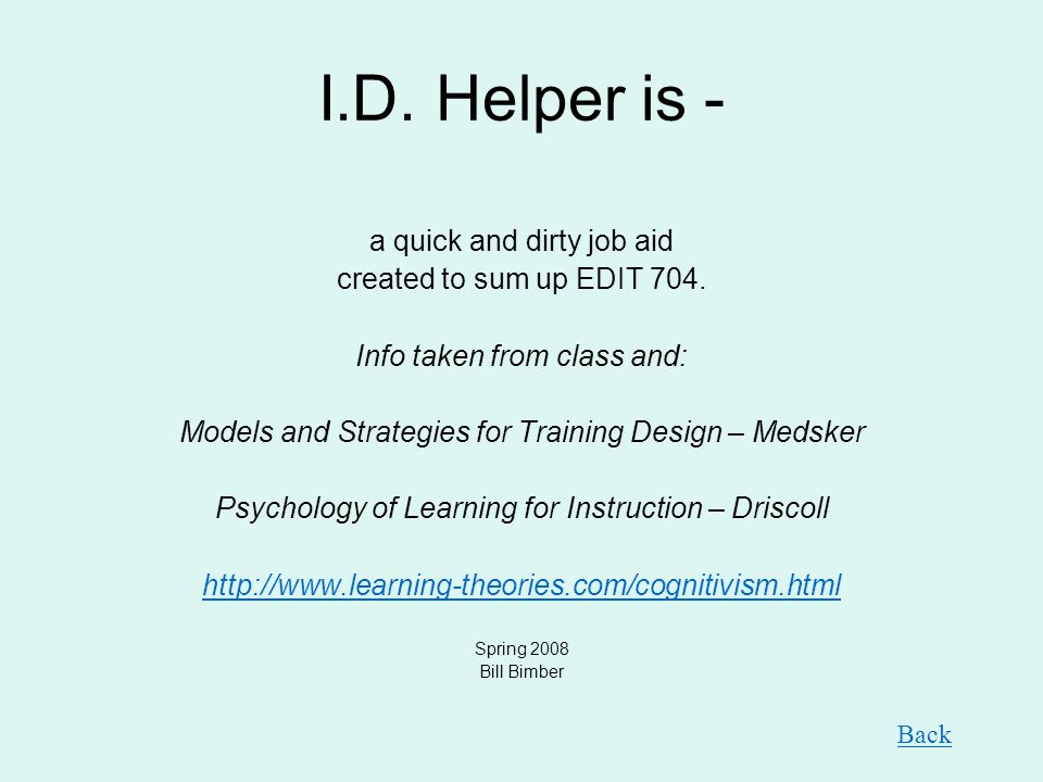 I.D.Helper is - a quick and dirty job aid created to sum up EDIT 704.