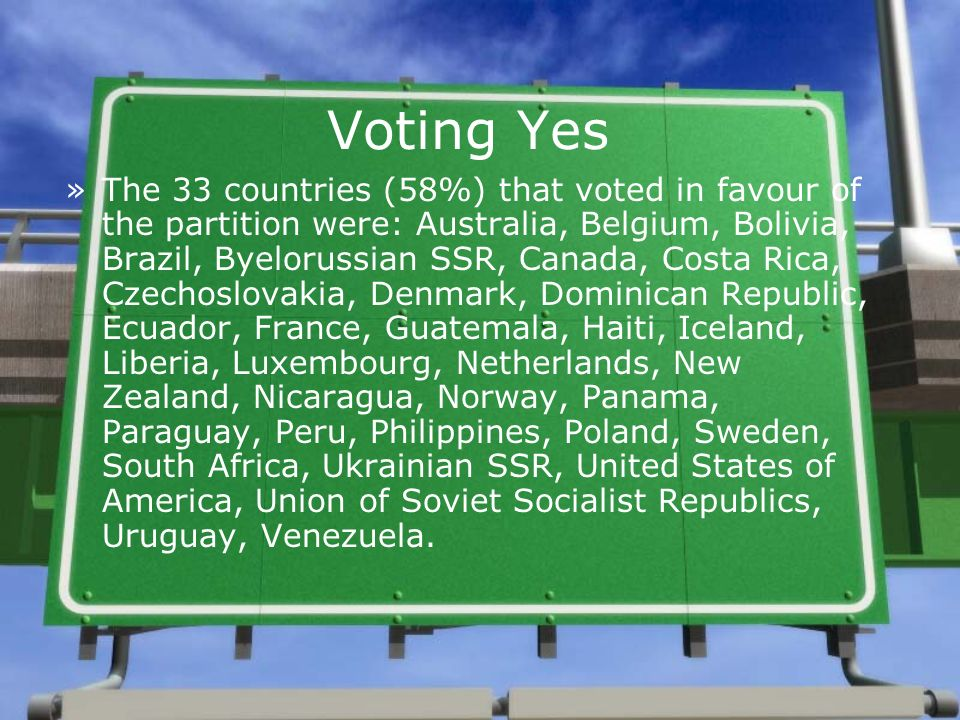 Voting Yes »The 33 countries (58%) that voted in favour of the partition were: Australia, Belgium, Bolivia, Brazil, Byelorussian SSR, Canada, Costa Ri