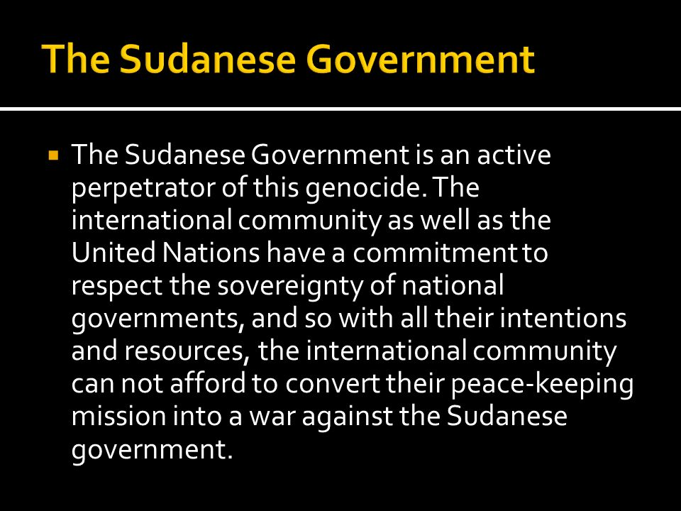 The Sudanese Government is an active perpetrator of this genocide. The international community as well as the United Nations have a commitment to resp