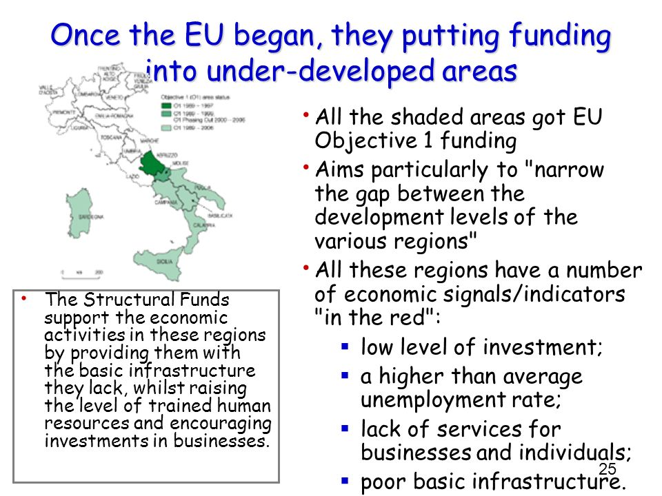25 Once the EU began, they putting funding into under-developed areas All the shaded areas got EU Objective 1 funding Aims particularly to