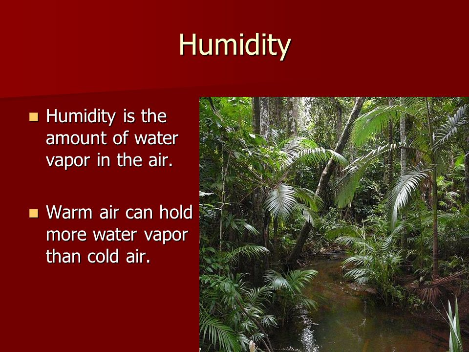 Humidity Humidity is the amount of water vapor in the air. Humidity is the amount of water vapor in the air. Warm air can hold more water vapor than c