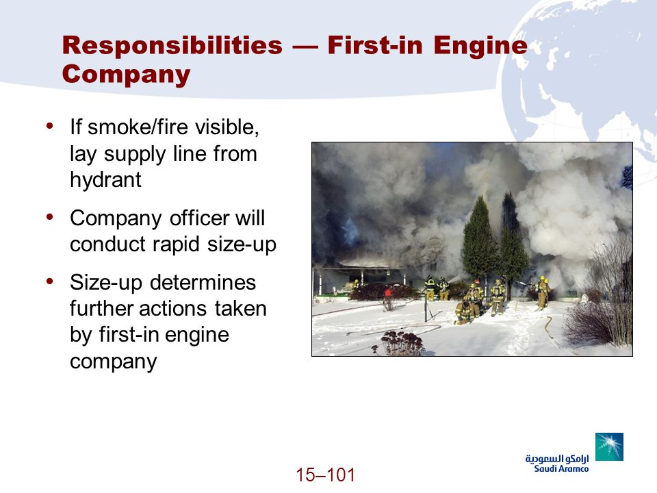 15–101 Responsibilities First-in Engine Company If smoke/fire visible, lay supply line from hydrant Company officer will conduct rapid size-up Size-up