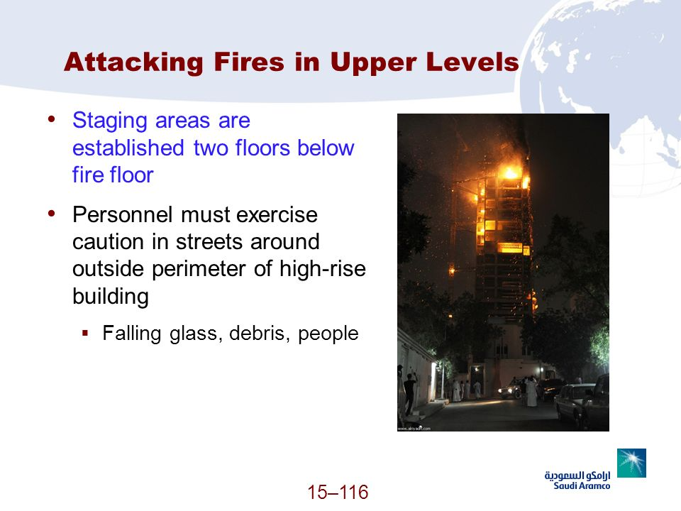 15–116 Attacking Fires in Upper Levels Staging areas are established two floors below fire floor Personnel must exercise caution in streets around out