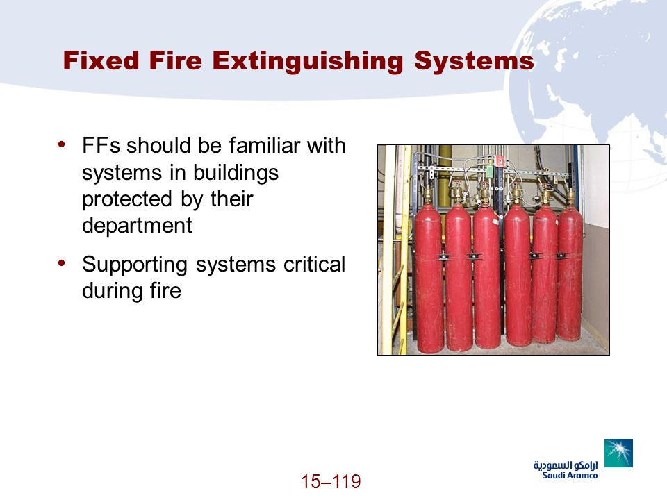 15–119 Fixed Fire Extinguishing Systems FFs should be familiar with systems in buildings protected by their department Supporting systems critical dur