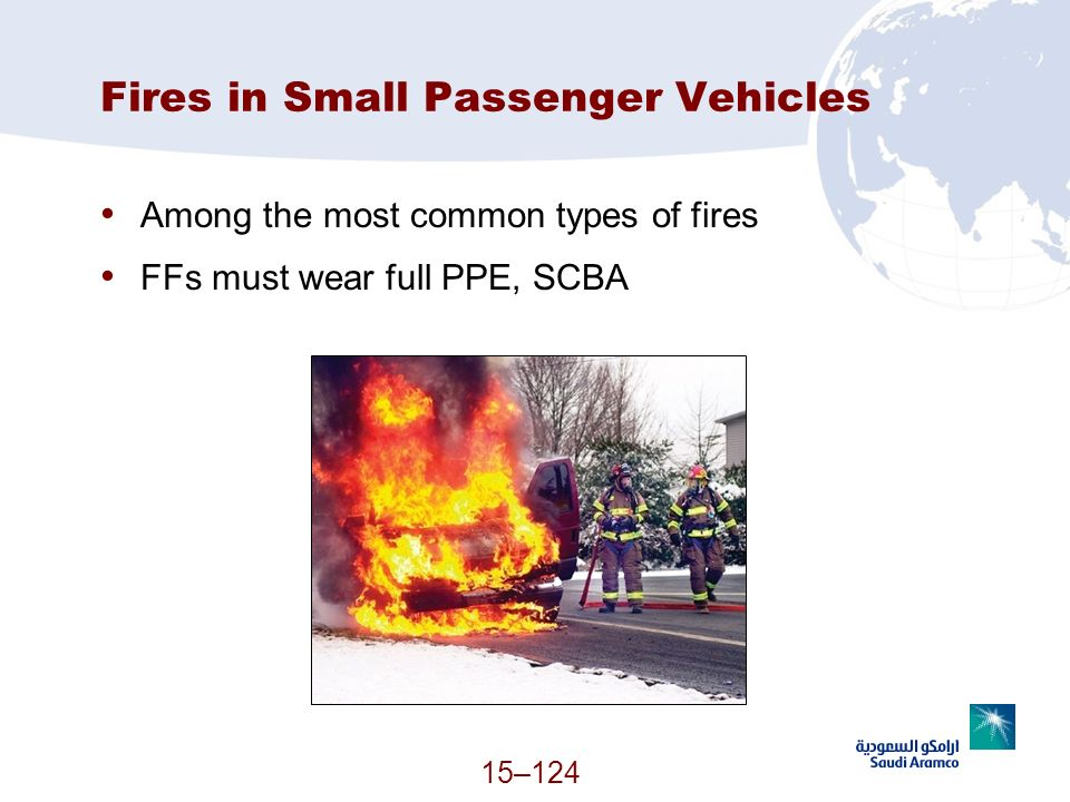 15–124 Fires in Small Passenger Vehicles Among the most common types of fires FFs must wear full PPE, SCBA (Continued)