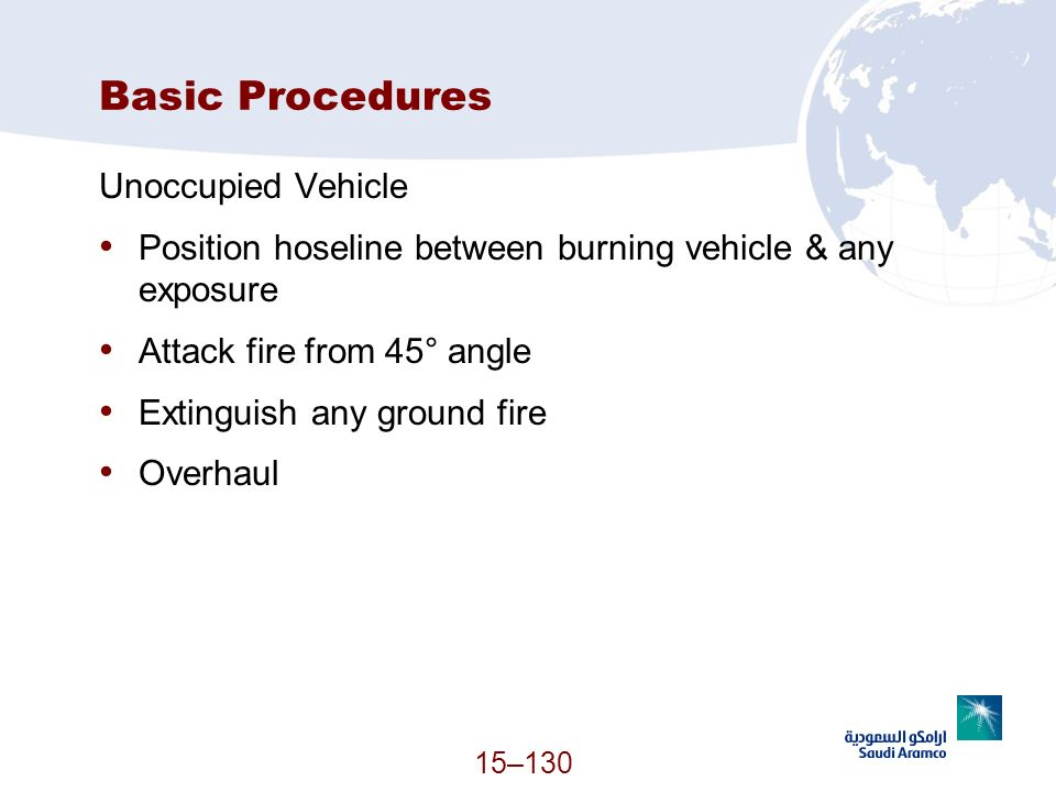15–130 Basic Procedures Unoccupied Vehicle Position hoseline between burning vehicle & any exposure Attack fire from 45° angle Extinguish any ground f
