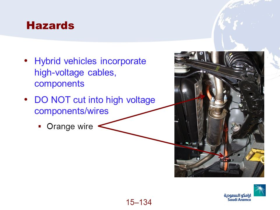 15–134 Hazards Hybrid vehicles incorporate high-voltage cables, components DO NOT cut into high voltage components/wires Orange wire