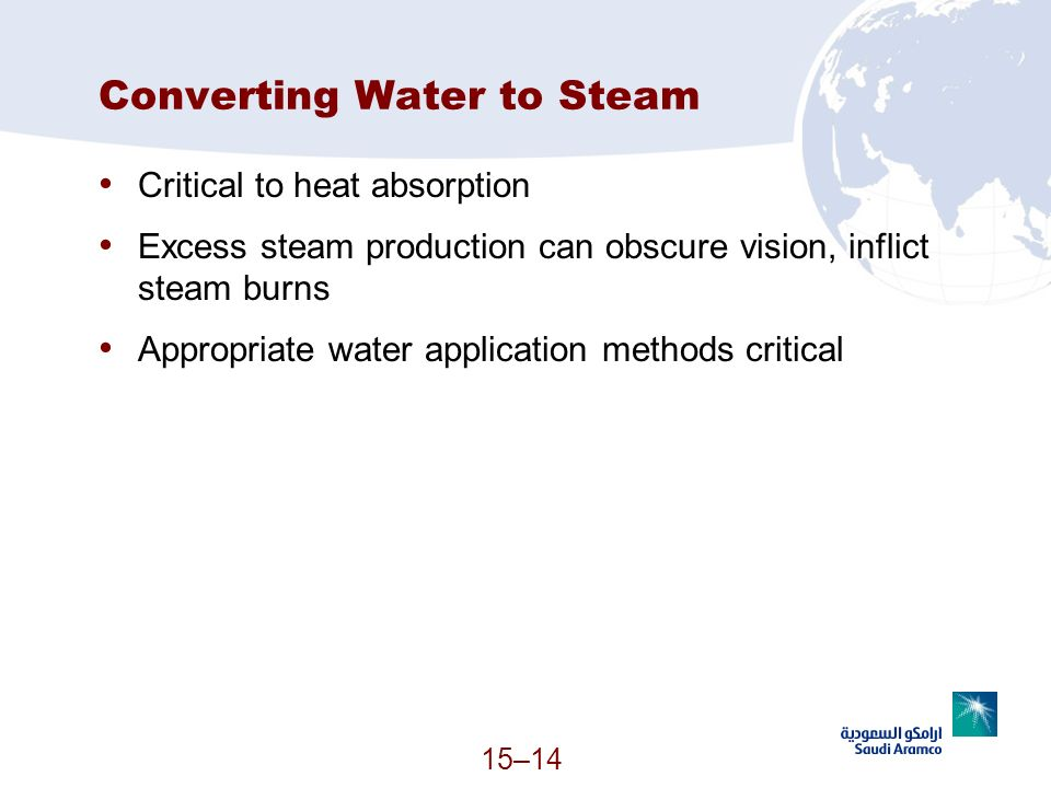15–14 Converting Water to Steam Critical to heat absorption Excess steam production can obscure vision, inflict steam burns Appropriate water applicat