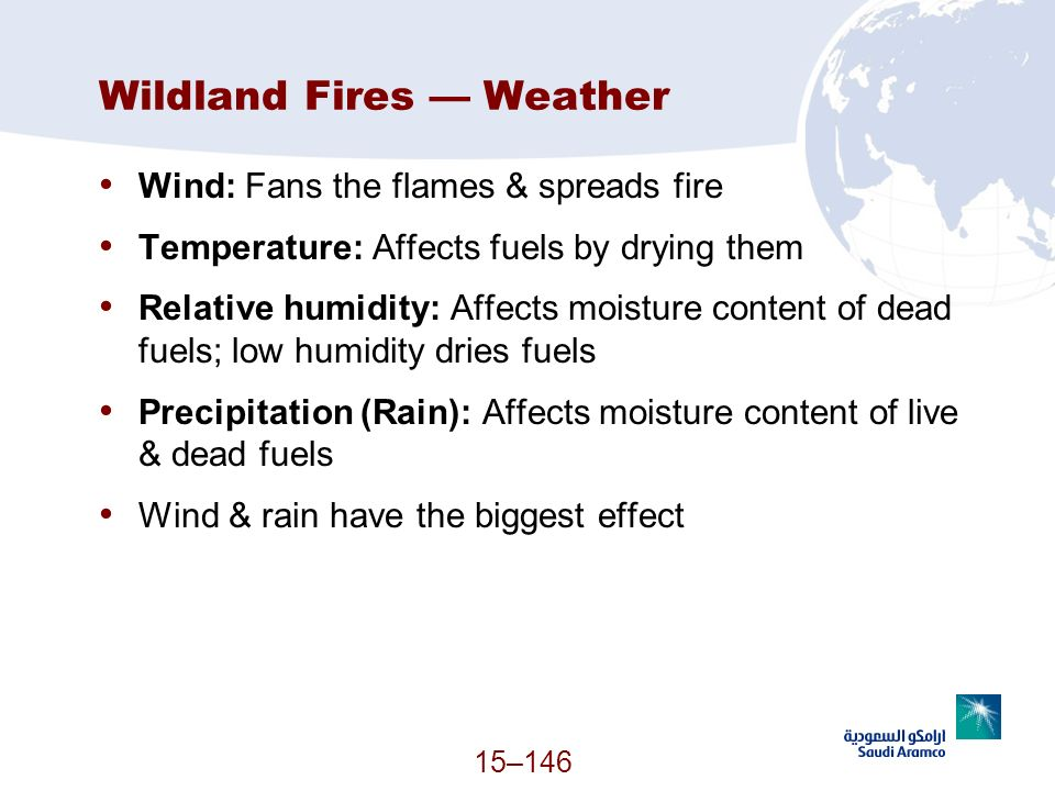 15–146 Wildland Fires Weather Wind: Fans the flames & spreads fire Temperature: Affects fuels by drying them Relative humidity: Affects moisture conte