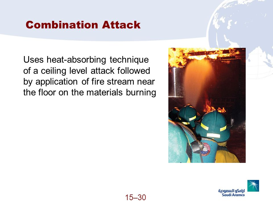 15–30 Combination Attack Uses heat-absorbing technique of a ceiling level attack followed by application of fire stream near the floor on the material